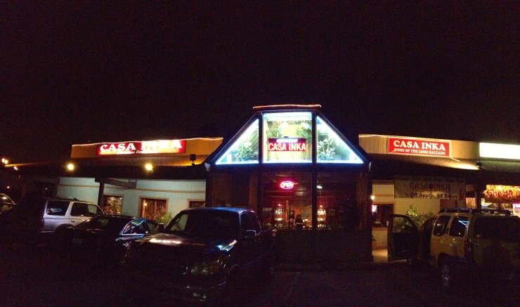 Casa Inka's facade stands out in an otherwise ordinary strip mall.