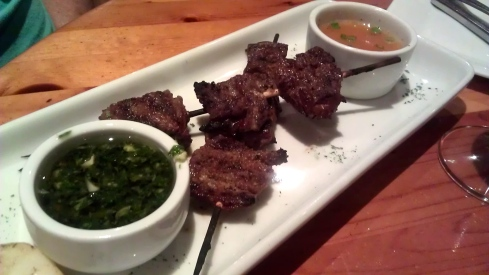 Anticuchos are skewered, marinated chunks of beef heart. Yummy!