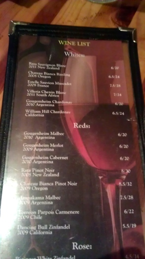 The wine list at Casa Inka in Fountain Valley, Calif. features Malbecs and New Zealand Pinot Noirs, among other choices.