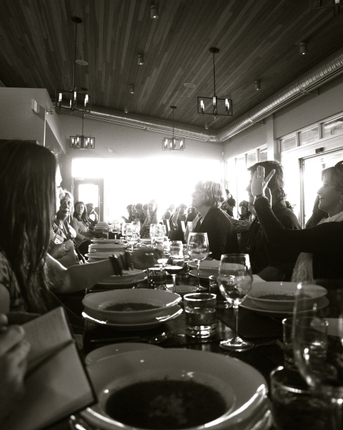 Hungry wine bloggers settle in for a first course of chilled gazpacho at Tinhorn Creek's Miradoro restaurant.